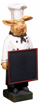 "23"" Pig French Fat Chef with Chalk Board Menu Sign Board Brand Woodland"