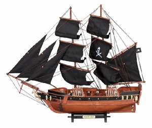 "23"" Pirate Nautical Ship Wooden Sailboat  Model in Black Brand Woodland"