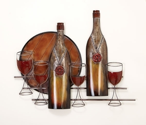 "24"" Classic Style Metal Wine Journey Wall Decor Sculpture Brand Woodland"