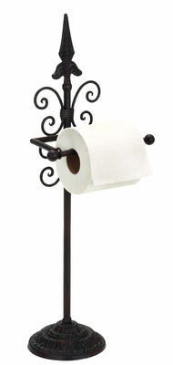 "24"" Cold Cast Arrow Scroll Metal Toilet Paper Holder in Black Brand Woodland"