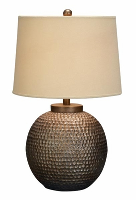 "24"" Designer Polystone Round Table Lamp with Fabric Shade Brand Woodland"