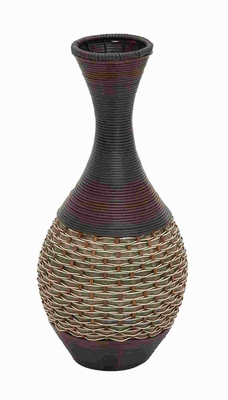 "24""H Durable Wooden Polyresin Vase with Elaborate Design Brand Woodland"