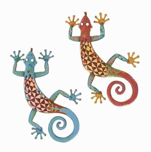 "24""H Metal Gecko Assorted with Bright Colors (Set of 2) Brand Woodland"
