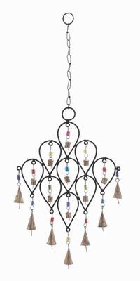 "24""H Metallic Bell Wind Chime with Unique Pattern Design Brand Woodland"