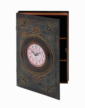 "24""H Simple Wood Wall Box Clock in Dark Brown Rustic Finish Brand Woodland"