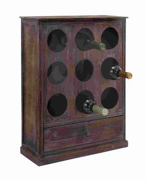 "24"" H Unique Sturdy Design Wood Wine Rack With utility Drawer Brand Woodland"
