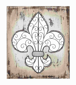 "24""H Wood/Metal Wall Decor Highlights the Essence of Fleur-di-Lis Art Brand Woodland"