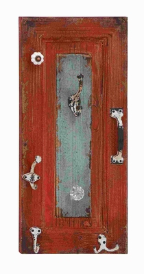 """24""""H Wood Wall Hook in Bold Maroon Finish with Rectangular Design Brand Woodland"""