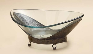 "24"" Huge Contemporary Glass Bowl with Classic Base Metal Stand Brand Woodland"