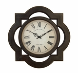 "24"" Round Classical Roman Wood Wall Decor Clock with Square Frame Brand Woodland"