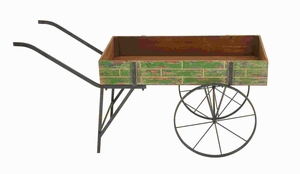 """25""""H Attractive Cart Designed Metal Wood Cart in Brick Style Brand Woodland"""