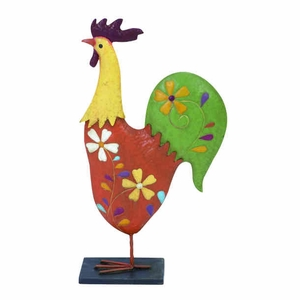 "25"" H Contemporary Beautiful Metal Rooster with Metallic Finish Brand Woodland"