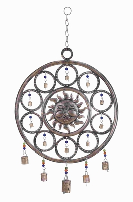 "25""H Durable and Rustproof Metal Sun Wind Chime Sun Design Brand Woodland"