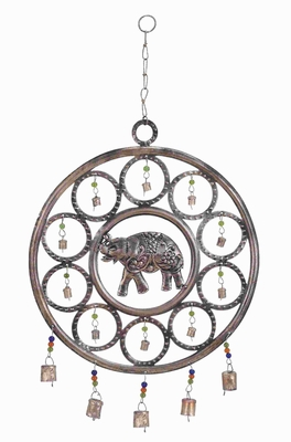 "25""H Durable Metal Wind Chime with An Elephant Themed Design Brand Woodland"