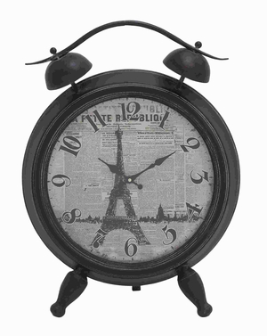 "25"" H Metal Table Clock with Unique Design of Eiffel Tower Brand Woodland"