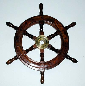 "25"" Solid Wood Nautical Costal Ship Wheel With Brass Hub Brand Woodland"