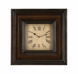 "25"" Square St. James Roman Wood Wall Decor Clock in Brown Finish Brand Woodland"