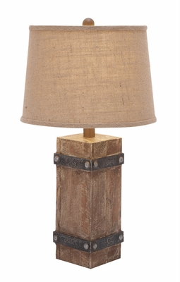 "Benzara 26""H Classy Wooden Table Lamp with Attractive Shade Design"