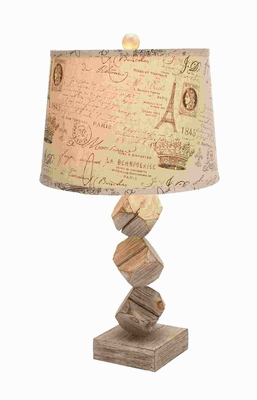 "26""H Superior Quality Wooden Table Lamp with Exclusive Carving Brand Woodland"