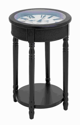 "26""H Wood Table Clock in Rich Black Finish with Stylish Design Brand Woodland"