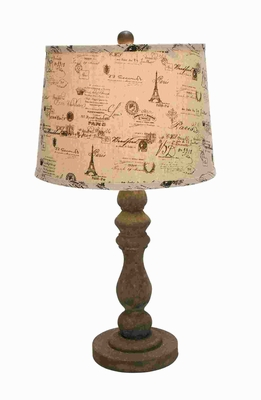 "26""H Wooden Stem Lamp with Contrasting Ivory Colored Fabric Brand Woodland"