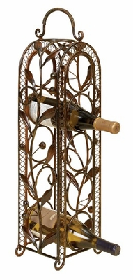 "27"" Elegant Vintage Five Bottle Metal Wine Rack Barware Brand Woodland"