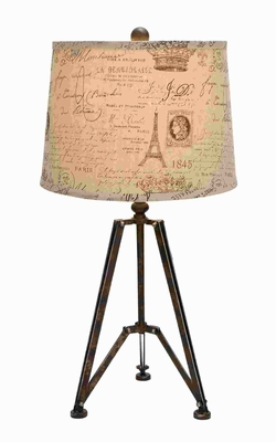 "27""H Exclusive Metal Table Lamp with Tripod Stand Pattern Brand Woodland"