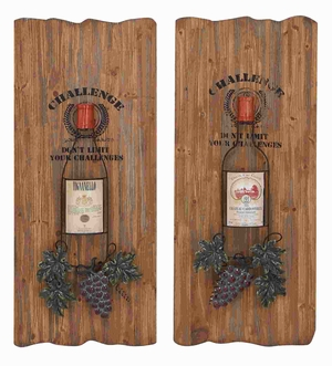 "28""H Unique Wood Wall Decor 2 assorted with Metal Tendrils Brand Woodland"
