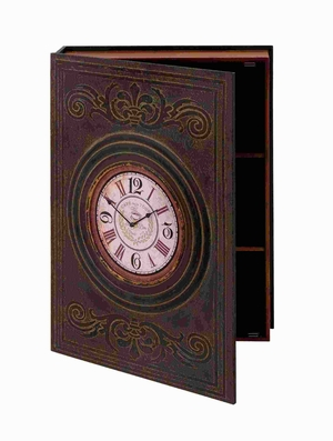 "28""H Wood Wall Box Clock with Clean Lines and Elegant Pattern Brand Woodland"