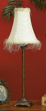 """28"""" Metal Fringe Table Lamp with Cream Shade - Set of 2 Brand Woodland"""
