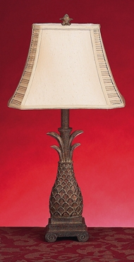 "28"" Polyresin Pineapple Ivory Shade Table Lamp - Set of 2 Brand Woodland"