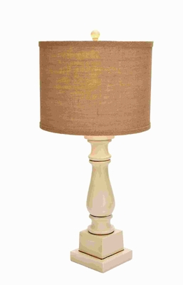 """29""""H Contemporary Table Lamp with Mix of White and Beige Color Brand Woodland"""