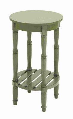 "29""H Wood Rd Side Table with Round Side in Steel Green Shade Brand Woodland"