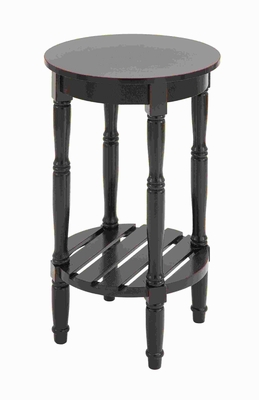 "29""H Wood Rd Side Table with Round Top Surface & Open Shelf Below Brand Woodland"