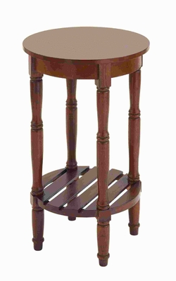 """29""""H Wood Side Table with Round Surfaces Top & Open Rack Below Brand Woodland"""