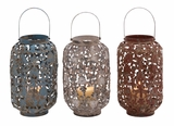 3 Assorted Metal/Glass Lantern with Classy and Stylish Touch Brand Woodland