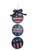 3 Bottle Cap Americana Metal Wall Decor by Alpine Corp