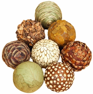 "3"" Decorative Natural Woven Jungle Wood Balls - Set of 8 Brand Woodland"