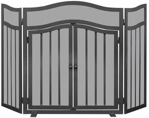 3 Panel Black Wrought Iron Screen with Doors by Blue Rhino