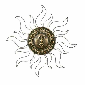 "30"" Classic Metal Sun Face Brass Wall Decor Art Sculpture Brand Woodland"