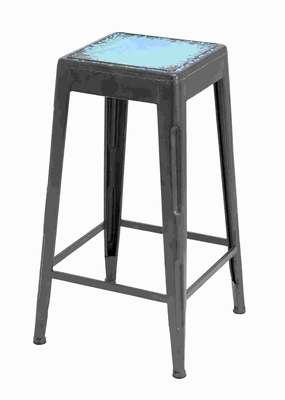 "30""H Metal Blue Bar Stool with a Smooth Matte Black Finish Brand Woodland"