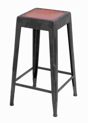 "30""H Metal Red Bar Stool in Matte Black Finish with Metal Legs Brand Woodland"