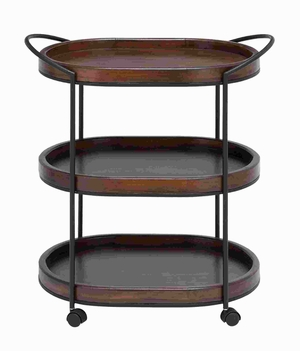 "30""H Metal Wooden 3 Tier in Dark and Natural Wood Finish Brand Woodland"