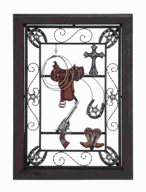 """30""""H Wood Metal Wall Plaque accented with Cowboy Details Brand Woodland"""