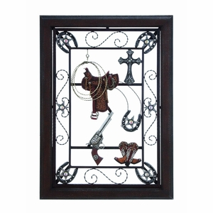 """30""""H Wood Metal Wall Plaque accented with Cowboy Details  - 92110 by Benzara"""