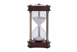 "30 Minute Hour Glass Wood Metal Glass Sand Timer 10""H, 5""W Brand Woodland"