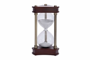 Beautifully Carved Wood Metal Glass Sand Timer - 58192 by Benzara