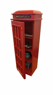 "30"" Solid Wood London Telephone Red Booth CD/DVD Holder Cabinet Brand Woodland"