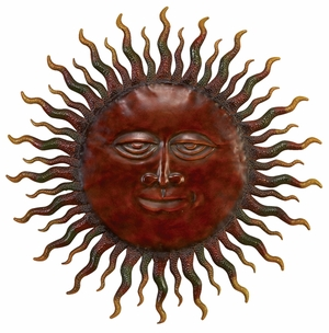 "30"" the Rising Sun Classic Style Metal Wall Decor Sculpture Brand Benzara"