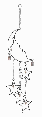Rustproof And Durable Beautiful Metal Moon Star Wind Chime - 26744 by Benzara